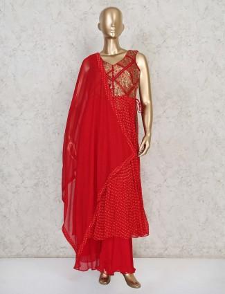 Classy red georgette punjabi palazzo suit