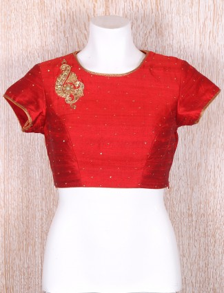 Classy red raw silk blouse