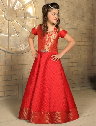 Classy red silk party wear gown