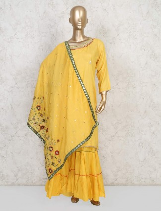 Classy yellow cotton punjabi sharara suit
