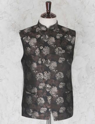 Coffee brown hue printed pattern waistcoat