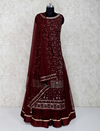 Coffee brown net double layer salwar suit