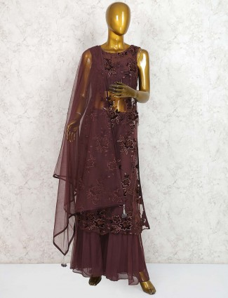 Coffee brown net sharara suit