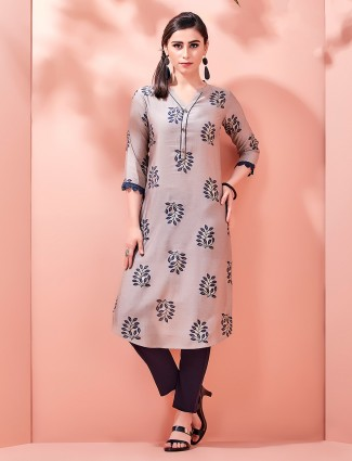 Collar neckline kurti in cotton with print