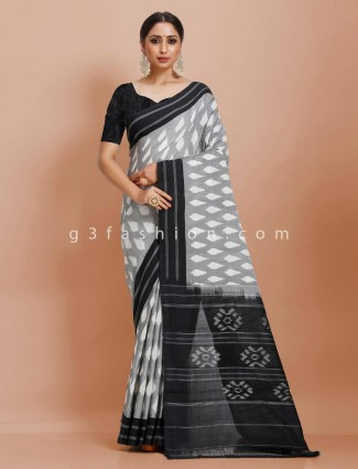 Contrast black and grey pure mul cotton printed festive saree