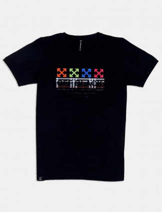 Cookyss black cotton printed t-shirt