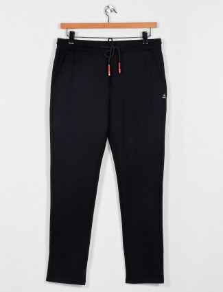 Cookyss black solid cotton track pant