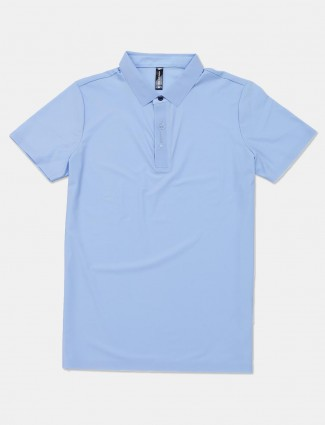 Cookyss blue solid cotton slim fit polo mens t-shirt