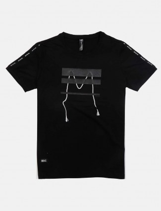 Cookyss casual wear black printed t-shirt