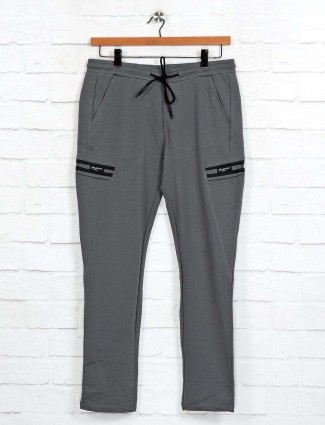 Cookyss grey narrow fit cotton track pant