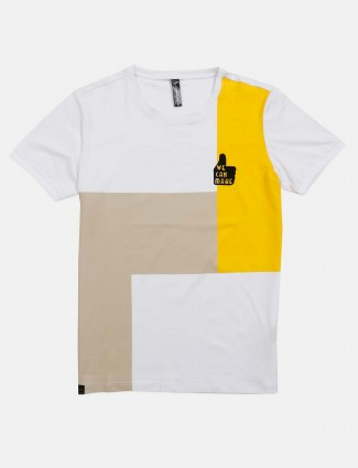 Cookyss half sleeves white and yellow t-shirt
