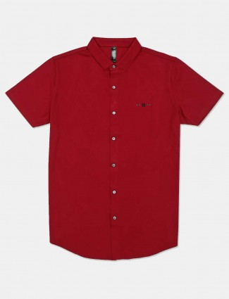 Cookyss maroon cotton casual shirt for mens