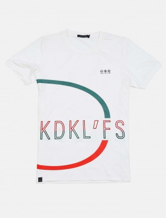 Cookyss mens white printed t-shirt