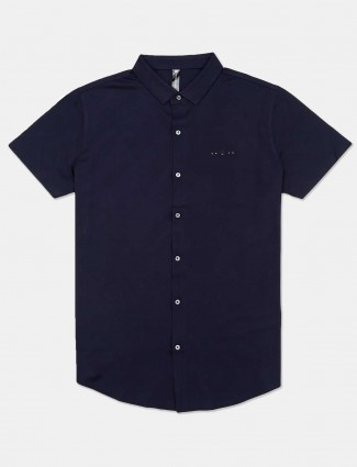 Cookyss navy solid shirt in cotton
