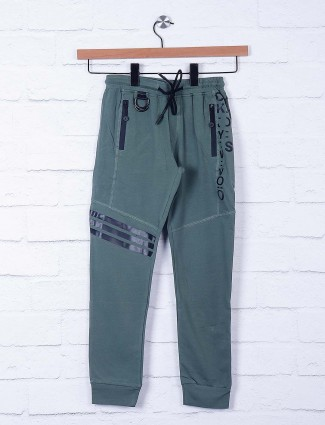 Cookyss olive green solid cotton payjama