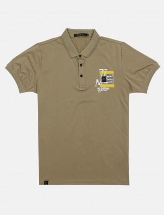 Cookyss olive solid casual t-shirt