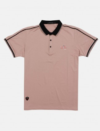 Cookyss polo neck solid peach t-shirt