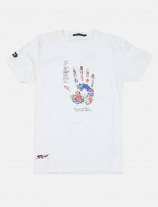 Cookyss printed round neck white t-shirt