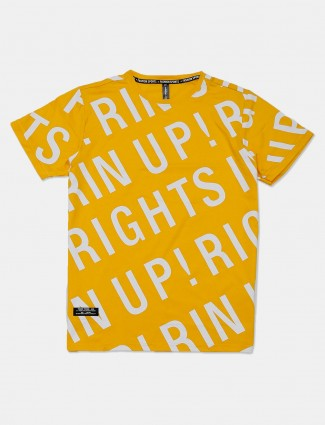 Cookyss printed yellow casual cotton t-shirt