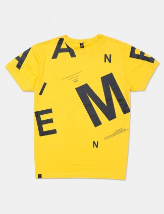 Cookyss printed yellow casual mens t-shirt