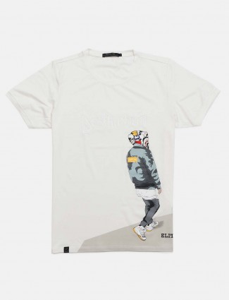 Cookyss slim fit white printed t-shirt