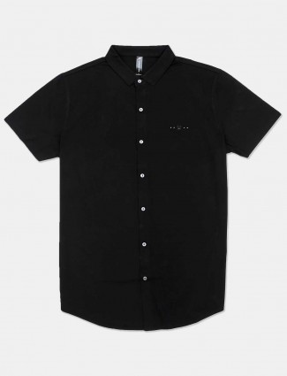 Cookyss solid black cotton mens shirt