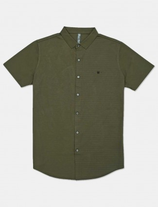 Cookyss solid olive cotton casual shirt
