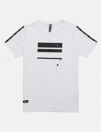 Cookyss white printed mens t-shirt