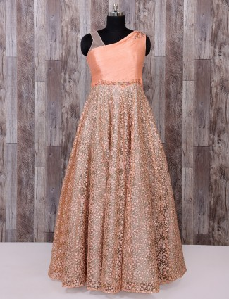 Coral peach net fabric designer gown