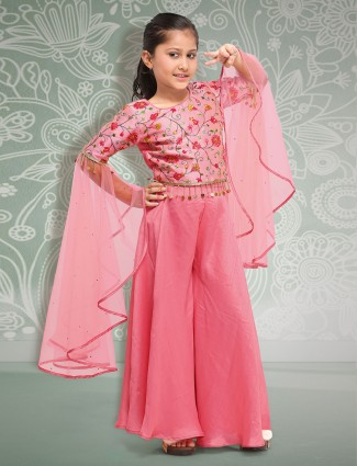 Coral pink colored festive wear punjabi palazzo suit