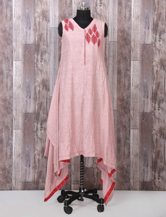 Coral pink silk palazo suit