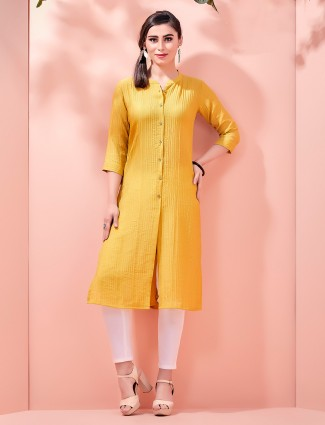 Corduroy mustard yellow cotton Kurti for festivals