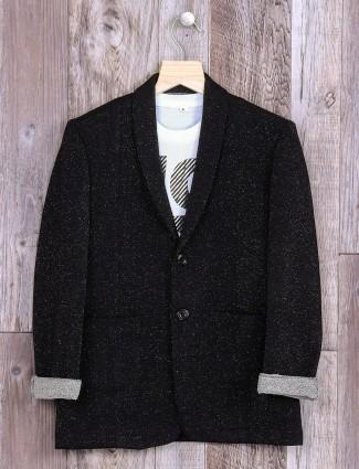 Corduroy printed black blazer