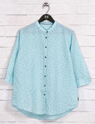 Cotton aqua printed latest shirt