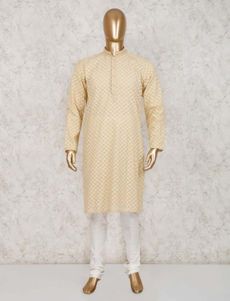 cotton beige lucknowi work kurta suit