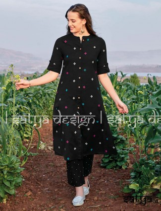 Cotton black casual wear tunic