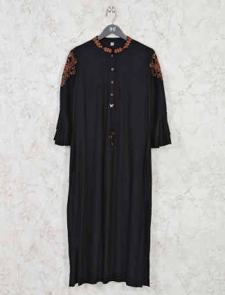 Cotton black chinese neck kurti