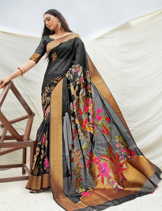 Cotton black saree with floral print