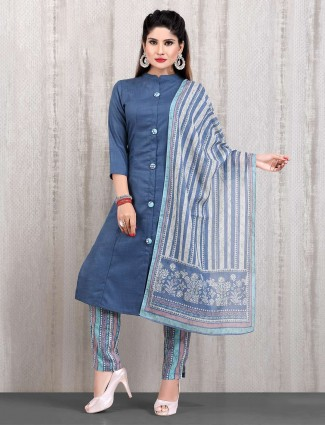 Cotton blue casual wear punjabi straight cut pant suit