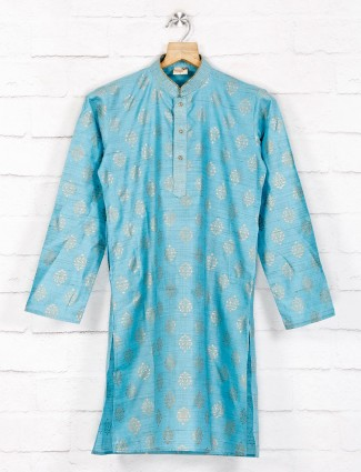 Cotton blue hue cotton festive wear kurta suit