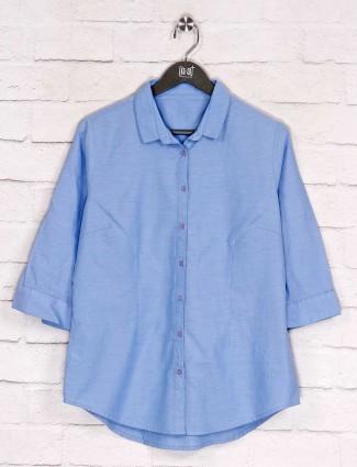 Cotton blue simple casual wear shirt