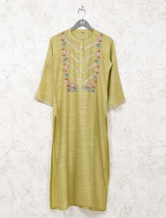 Cotton casual kurti in green