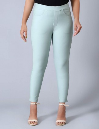 Cotton casual wear green jeggings