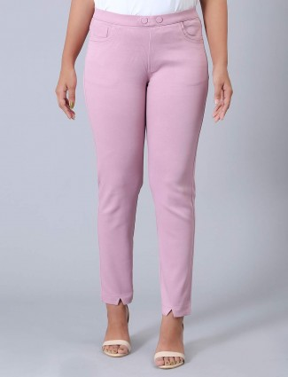 Cotton casual wear pink jeggings