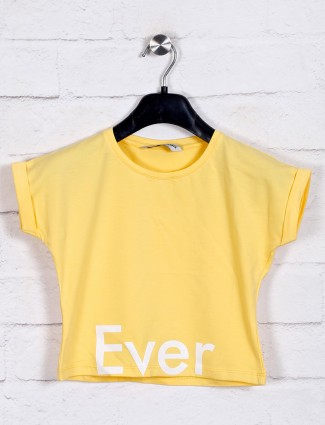 Cotton casual wear solid yellow top
