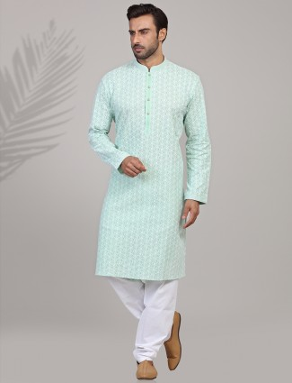 Cotton chikan embroidered pista green kurta suit