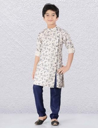 Cotton cream hue printed festive wear kurta suit