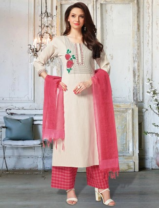 Cotton cream sober look punjabi palazzo suit