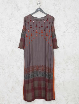 Cotton dark grey printed kurti for festive function