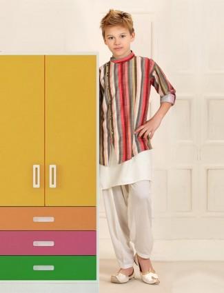 Cotton dark pink double layer style kurta suit